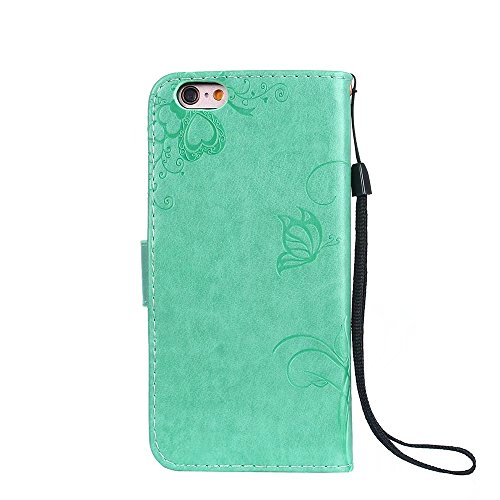 Horizontale Bookstyle Flip Case Premium PU Ledertasche, Solid Color Embossed Blumen Schutzbrieftasche Case Cover mit Lanyard & Stand für iPone 6 & 6S ( Color : Modena ) Green