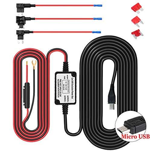 Dash Cam Hardwire Kit Micro USB Harter Draht Auto Ladegerät Kabelsatz, Driving Record Kamera, GPS Navigator, Radarwarner 12V to 5V, DC 12V - 24V (Micro USB) - Dashcam-netzteil