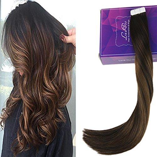 Laavoo 14 pollici corto capelli extension veri adesive naturali tape in hair extensions individuale 20fasce/50grammi castano scuro balayage marrone chiaro #2/8/2