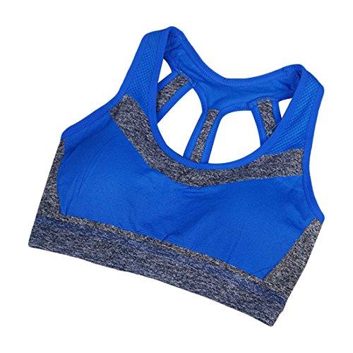 Jiayiqi Femmes Sport Soutien-Gorge Yoga Top Padding Workout Soutien Moyen Vêtements de sport Bleu