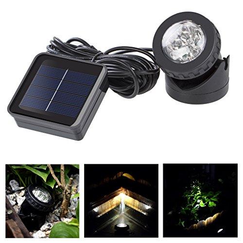 Wasserdicht Solarlampe 6 LED Solar Gartenlampe Außenlampe Solar Spot Leuchte Aquarium Solarstrahler Gartenleuchte
