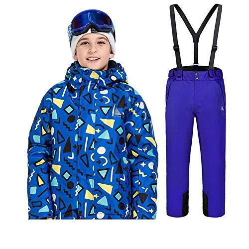LPATTERN Kinder Jungen/Mädchen Skifahren 2 Teilig Schneeanzug Skianzug(Skijacke+ Skihose), Blau Fraktalbild Jacke+ Blau Trägerhose für Jungen, Gr. 116(Herstellergröße: 120) | 08712129535616