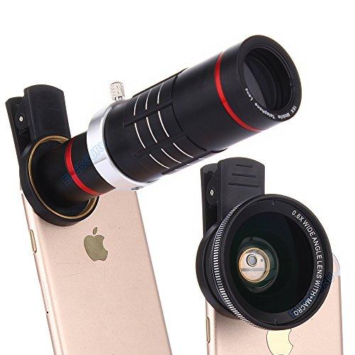 Elecguru – kit de lentes de cámara HD con pinza, lente teleobjetivo universal con zoom 18X + lente súper macro 12,5X + lente gran angular 0,6X para iPhone 7/6S/6Plus/5/4, Samsung, HTC y otros teléfonos inteligentes