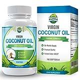 Olio vergine di cocco in capsule, MCT dell'olio per il massimo beneficio, acidi grassi essenziali per una perdita di peso naturale, 1000 mg, confezione da 180 compresse