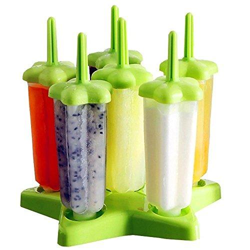 HOMIU Wiederbenutzbare Stern Formen für Eis am Stiel - 6 Portionen - DIY Gefrorene Eis Formen, Eis Lutscher, Eis Halter mit praktischen Deckel und Unterboden - BPA- Frei (Stern, Grün)