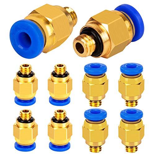 LUTER PC4-M6 Pneumatik-Schnellverbinder (Packung mit 10 Stück), 4mm Gewinde M6 Push-Anschluss für PTFE-Schlauch 3D-Druckeranschluss