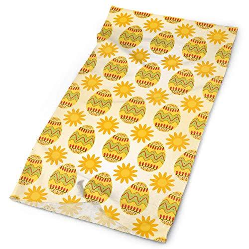 Hoklcvd Yellow Easter Eggs with Sunny Men Women Face Mask Neck Gaiter Sun Shade Shield Bandanas Headwear Wide Headbands Scarf Head Wrap Unisex16