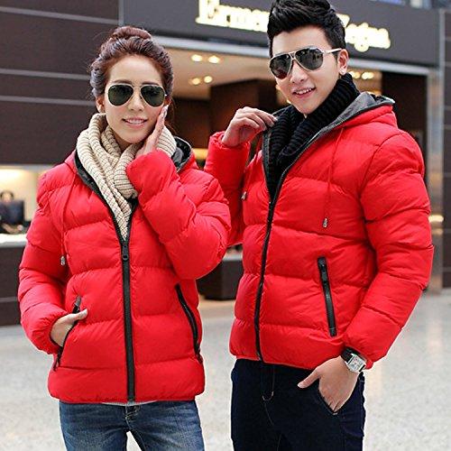 ESYN New Herren Winter Lässige starke warme Mantel-Jacken Cotton-padded Outwear 4 Farben Red