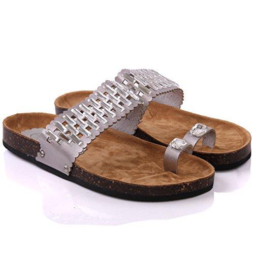 Unze Womens ' Amenda ' Progettato Thong pantofole Argento