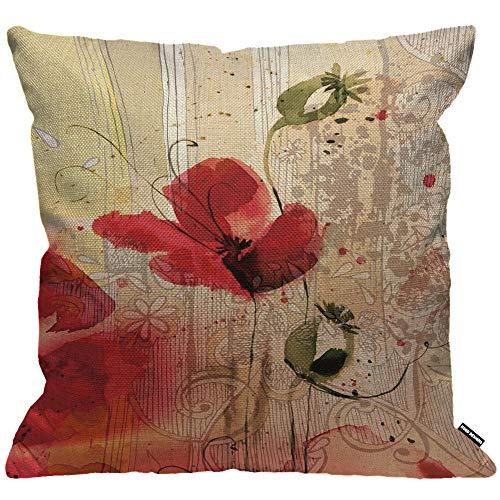ezug Blume Rot Mohn Blume Beige Blumig Kissenhülle Haus Dekorativ Für Männer/Frauen/Jungen/Mädchen Wohnzimmer Schlafzimmer Sofa Stuhl Kissenbezüge 45X45cm ()