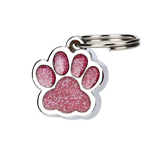 Gaddrt Personalisierte gravierte Glitter Paw Print Tag Hund Katze Pet ID Tags reflektierend Ausweis für Haustiere (Hot Pink)