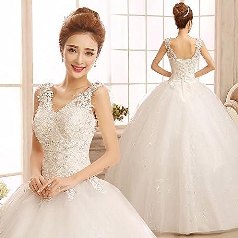 HU Moderne Schulter V-Ausschnitt Kleider Große Größe Qi Banded Kleider Braut Einfache Dünne Brautkleider,A,L