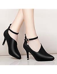 Yukun zapatos de tacón alto Spring and Autumn Single Shoes with Small High  Heel Stiletto Fashion Autumn Shoes PU Shoes Women s Shoes 3f662eafd060