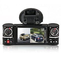inDigi Autokamera / Black Box (2,7 Zoll / 6,9 cm, TFT LCD-Display, duale Kamera, drehbare Linse, DVR-Rekorder)
