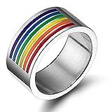 Vnox Schmucksache homosexueller u Lesbischer LGBT Stolz Edelstahl Regenbogen Emaille Ring,10mm breit,Größe 64 (20.4)