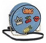 Denim Tasche rund Handtasche OMG Jeanstasche Mini Bag mit Reißverschluss, Kette & Trageriemen