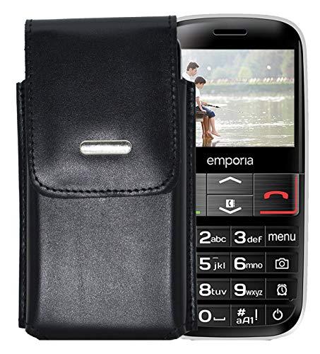 Favory-Shop Vertikal Etui für Emporia Euphoria V50 Köcher Tasche Hülle Ledertasche Vertical Case Handytasche mit Einer Gürtelschlaufe auf der Rückseite -