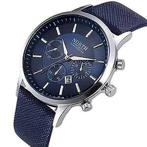 Fenkoo Da uomo orologio da polso al quarzo calendario cinturino in pelle  nero bianco blu Marca 1cd41f348ff