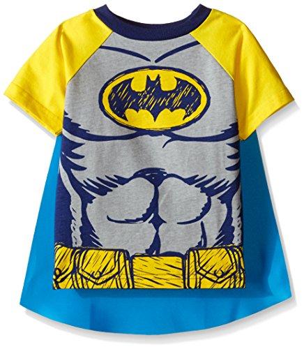 DC Comics Camiseta de Manga Corta de Batman con Capa - Disfraz Friki Divertido para Niños, Negro 2 Años