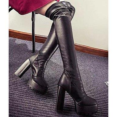 RTRY Scarpe Donna Pu Autunno Inverno Comfort Moda Stivali Stivali Chunky Tallone Sopra Il Ginocchio Stivali Per Casual Nero Black Us5.5 / Eu36 / Uk3.5 / Cn35 US6.5-7 / EU37 / UK4.5-5 / CN37