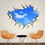 EMIRACLEZE Christmas Gift Holiday Shopping New Style Blue Sky in the House Removable Mural Wall Stickers Wall Decal for Room and Ceiling Home Decor by EmiracleZe