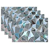 SENNSEE Geometrische Diamanten Tisch-Sets Home Teller Fußmatte Esstisch hitzebeständig Küche Tisch Matte 30,5x 45,7cm, grau, Polyester, Mehrfarbig, 4 Stück
