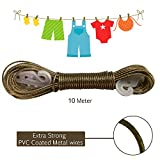 #5: AllExtreme 10 meter PVC Coated Steel Anti-Rust Wire Rope Washing Line Clothesline with 2 Plastic Hooks(Grey)