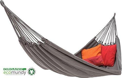 ECOMUNDY PURE XL 360 ANTHRACITE - Hamac double premium, coton biologique - GOTS 160 x 260x360cm