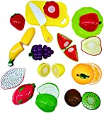 Blossom Slash Realistic Sliceable Fruits Cutting Play Kitchen Set Toy (13 pcs set) with various Fruits,Knife,Plate and Cutting Board for Kids,Multi Color.