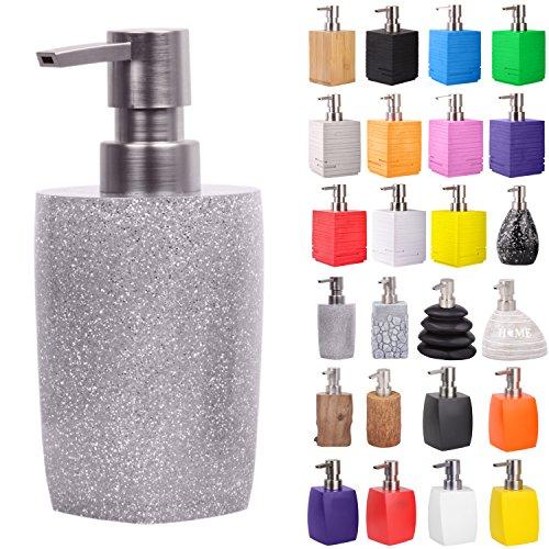 Seifenspender | viele schöne Seifenspender zur Auswahl | modernes, stylisches Design | Blickfang für jedes Badezimmer (Glitzer Silber)