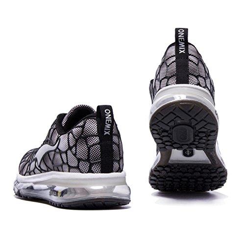 Onemix Baskets Basses Homme Chaussures de Running Entrainement Homme Ultraléger Air Black / White