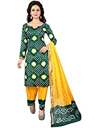 Taboody Empire Stripes Green Satin Cotton Handi Crafts Bandhani Work With Straight Salwar Suit For Girls And Women