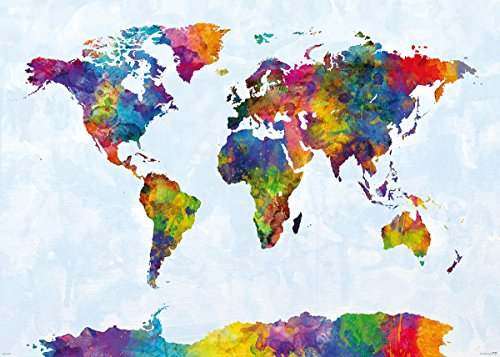 Close Up Watercolor World Map XXL-Poster (140x 100cm) von Michael Tompsett - Weltkarte Michael Tompsett
