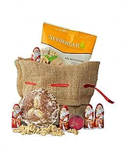 Gourmondo Weihnachtssäckchen mit Lebkuchen, Pralinen und Nüssen im Jutesäckchen