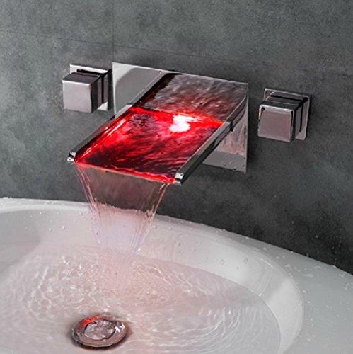 GAO® Wasserhahn voll kupfer sitzen einzigen griff einlochmontage waschbecken badezimmerschrank LED drei farbe temperaturregelung farbe licht warmen und kalten wasser wasserfall Wasserhahn Outdoor-rohr-isolierung, Abdeckung