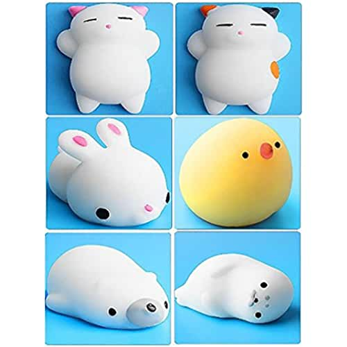 mini kawaii miniaturas kawaii 6Pcs Mini Kawaii suave Cat pollo cierre elástico Squishy juguete con caja mochi Squeeze Toy Stress Reliever