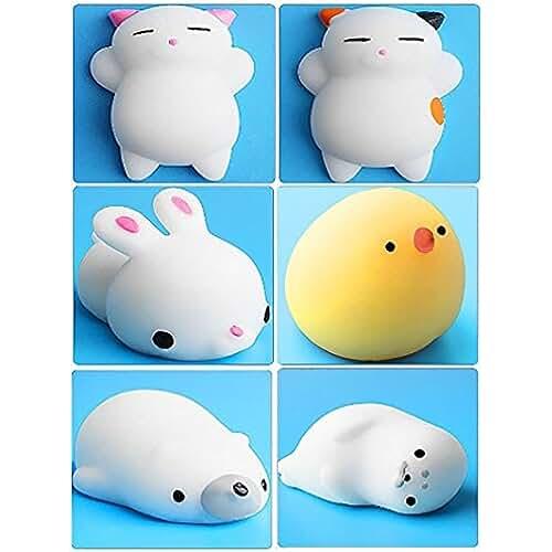 juguetes kawaii 6Pcs Mini Kawaii suave Cat pollo cierre elástico Squishy juguete con caja mochi Squeeze Toy Stress Reliever