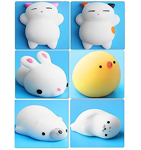 6Pcs Mini Kawaii suave Cat pollo cierre elástico Squishy...
