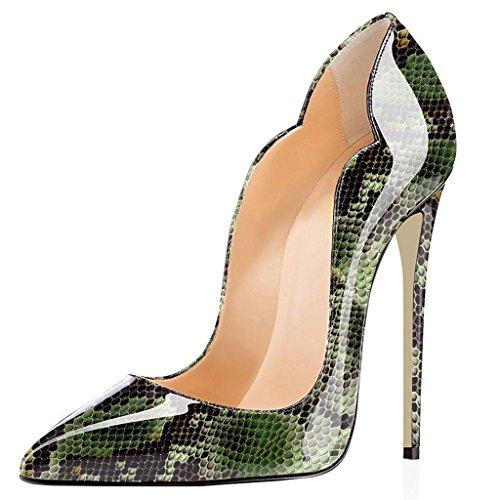EDEFS Damen Hochzeit Stiletto | Damen Pumps | Bequeme Stilettos | Elegante High Heels Grun