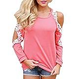 ESAILQ Damen Blusen Chiffon Langarm Tunika mit Reißverschluss Vorne V-Ausschnitt Oberteile T-Shirt (XL,Rosa)