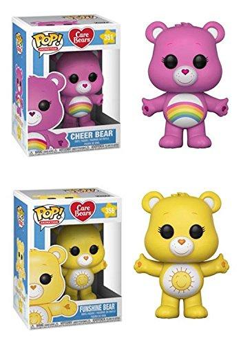 s: Cheer Bear + Funshine Bear - Stylized Cartoon Vinyl Figure Bundle Set NEW ()