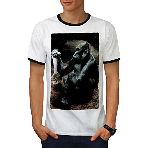 Affe Wüste Wild Tier Affe Denken Herren S Ringer T-shirt | Wellcoda (Denken Panther)