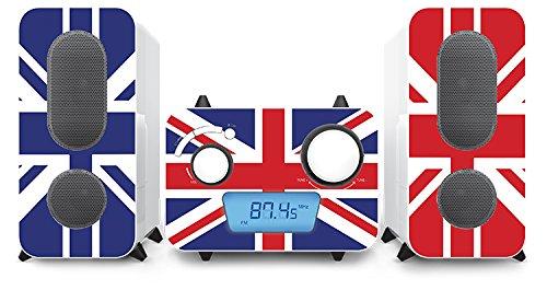 BigBen Micro chaîne stéréo avec des Autocollants différents Designs (Prise Aux, Lecteur CD, Radio FM)