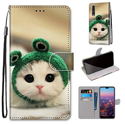 Miagon Flip PU Leder Schutzhülle für Huawei P20 Pro,Bunt Muster Hülle Brieftasche Case Cover Ständer mit Kartenfächer Trageschlaufe,Frosch Katze