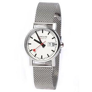Reloj MONDAINE A6693030511SBM de cuarzo para mujer, correa de acero inoxidable color plateado de MONDAINE