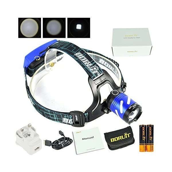 Boruit Latest Version LED Head Torch, High Power XM-L T6, Waterproof Zoomable Rechargeable Headlight SOS Alarm Function