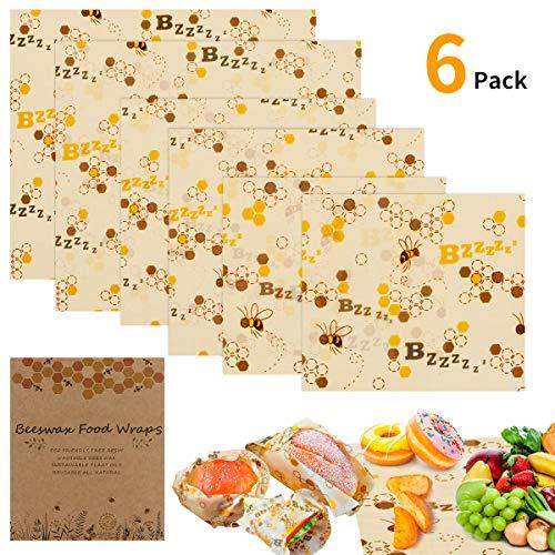 Lebensmitteln Bienenwachstuch E-More 6 Stück Lebensmitteln Bienenwachstuch Verschiedene Größe Kunststoff frei und biologisch abbaubar, umweltfreundliche Wiederverwendbare Lebensmittelverpackungen