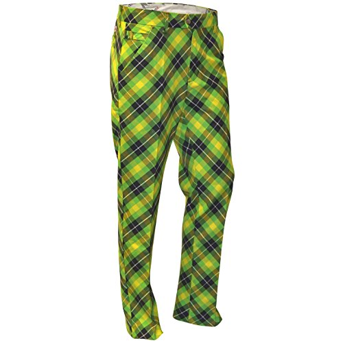 Royal & Awesome Herren Pants Herren Golf Hose - Plaid Electric, Plaid Electric, 36