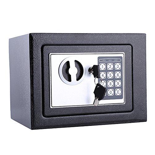 Digital Sicherheit Sicher,, schwarz Electronic Solider Stahl Sicher Home Office Geld Cash Safe Box mit Pin und 2 Schlüssel (Office Geld)