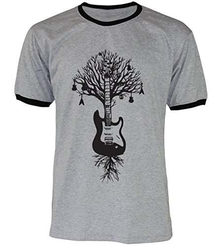 PALLAS Unisex's Guitar Tree Graphic Art T Shirt GREY2